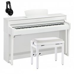 YAMAHA -PACK- CLP635 WH PIANO DIGITAL BLANCO MATE+ BANQUETA Y AURICULARES