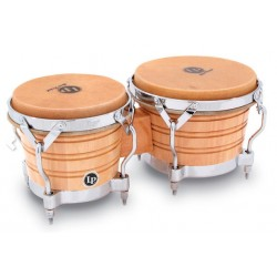 LATIN PERCUSSION LP201AX2 BONGOS COMFORT CURVE II RIMS NATURAL CHROME