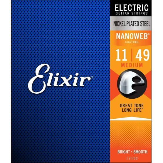 ELIXIR 12102AR NANOWEB ANTI RUST MEDIUM JUEGO CUERDAS 011 049 GUITARRA ELECTRICA