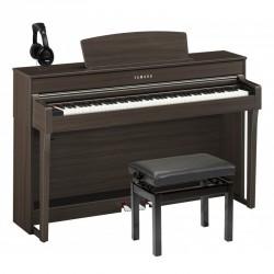 YAMAHA -PACK- CLP645 DW PIANO DIGITAL DARK WALNUT + BANQUETA Y AURICULARES