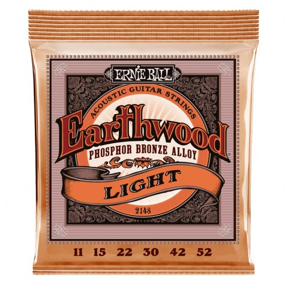 ERNIE BALL 2148 SLINKY LIGHT EARTHWOOD PHOSPOR BRONZE JUEGO CUERDAS ACUSTICA 011-052