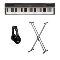 YAMAHA -PACK- P125 B PIANO DIGITAL NEGRO + SOPORTE TIJERA Y AURICULARES