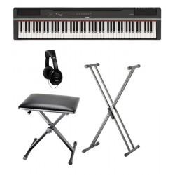 YAMAHA -PACK- P125 B PIANO DIGITAL NEGRO + SOPORTE TIJERA + BANQUETA Y AURICULARES