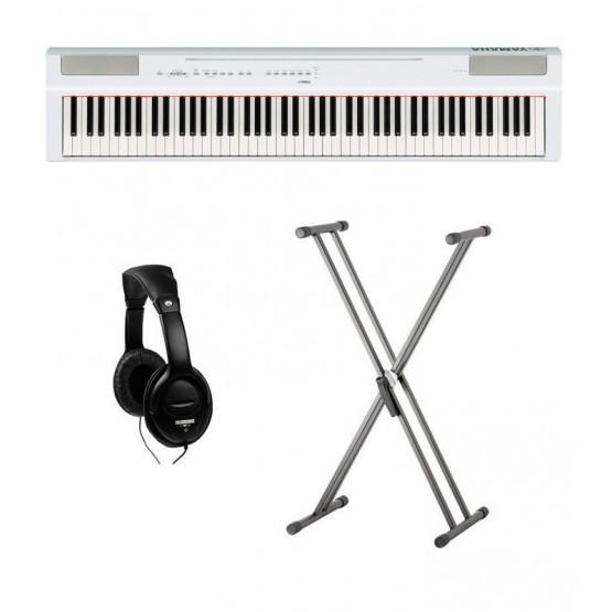 YAMAHA -PACK- P125 WH PIANO DIGITAL BLANCO + SOPORTE TIJERA Y AURICULARES