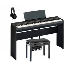 YAMAHA -PACK- P125 B PIANO DIGITAL NEGRO + SOPORTE + PEDALERA + BANQUETA Y AURICULARES