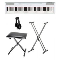 YAMAHA -PACK- P125 WH PIANO DIGITAL BLANCO + SOPORTE TIJERA + BANQUETA Y AURICULARES