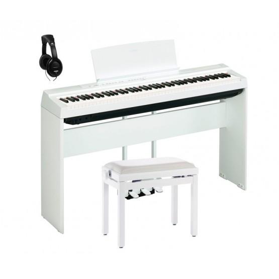 YAMAHA -PACK- P125 WH PIANO DIGITAL BLANCO + SOPORTE + PEDALERA + BANQUETA Y AURICULARES