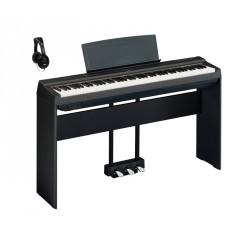 YAMAHA -PACK- P125 B PIANO DIGITAL NEGRO + SOPORTE + PEDALERA Y AURICULARES