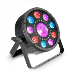 CAMEO FLAT MOON FOCO PAR PLANO 3 EN 1 CON LED RGB+UV Y ESTROBO