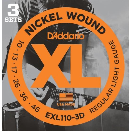 D'ADDARIO EXL1103D SET 3 JUEGOS CUERDAS GUITARRA ELECTRICA 010-046
