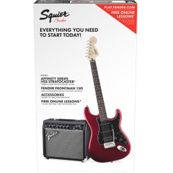 SQUIER PACK STRATOCASTER HSS CAR GUITARRA ELECTRICA CON AMPLIFICADOR CANDY APPLE RED