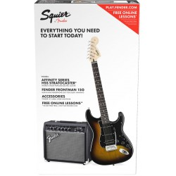 SQUIER PACK STRATOCASTER HSS BSB GUITARRA ELECTRICA CON AMPLIFICADOR BROWN SUNBURST
