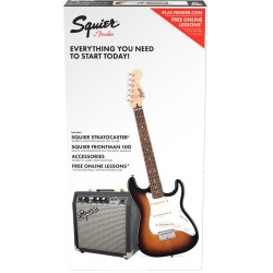 SQUIER PACK STRATOCASTER SS BSB GUITARRA ELECTRICA CON AMPLIFICADOR BROWN SUNBURST.