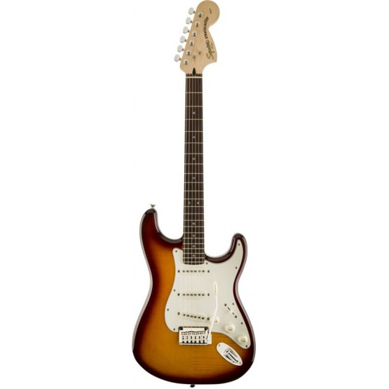 SQUIER STANDARD STRATOCASTER FLAME MAPLE TOP RW GUITARRA ELECTRICA AMBER TRANSPARENT.