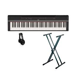 YAMAHA -PACK- P121 B PIANO DIGITAL NEGRO + SOPORTE TIJERA Y AURICULARES