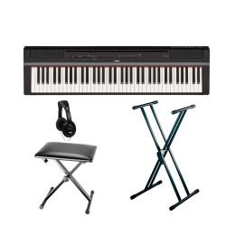 YAMAHA -PACK- P121 B PIANO DIGITAL NEGRO + SOPORTE TIJERA + BANQUETA Y AURICULARES