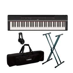 YAMAHA -PACK- P121 B PIANO DIGITAL NEGRO + SOPORTE TIJERA + FUNDA Y AURICULARES