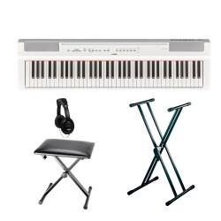 YAMAHA -PACK- P121 WH PIANO DIGITAL BLANCO + SOPORTE TIJERA + BANQUETA Y AURICULARES