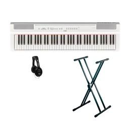 YAMAHA -PACK- P121 WH PIANO DIGITAL BLANCO + SOPORTE TIJERA Y AURICULARES