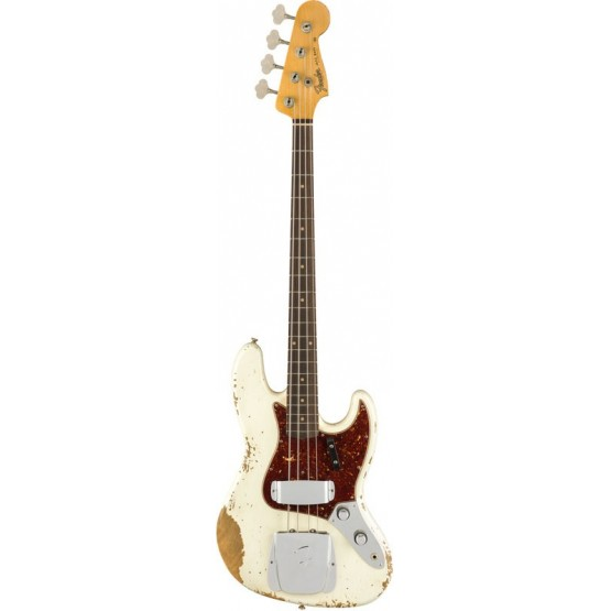 FENDER CUSTOM SHOP 2019 HEAVY RELIC 1961 JAZZ BASS BAJO ELECTRICO AGED OLYMPIC WHITE. BOUTIQUE