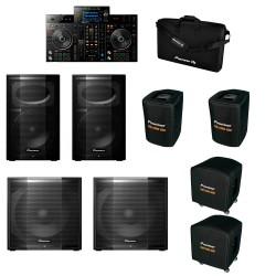 PIONEER DJ XPRS10PACK-XDJRX2 SET 2 XPRS10 + 2 XPRS115S Y XDJRX2 CON FUNDAS