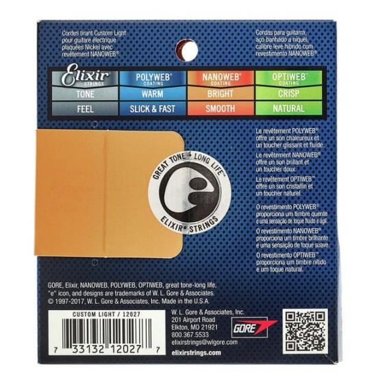 ELIXIR 12027AR NANOWEB ANTIRUST CUSTOM LIGHT JUEGO CUERDAS GUITARRA ELECTRICA 009-046