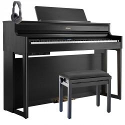 ROLAND -PACK- HP704 CH PIANO DIGITAL CHARCOAL BLACK + BANQUETA Y AURICULARES