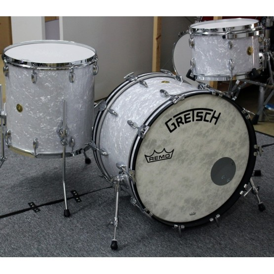 GRETSCH DRUMS BROADKASTER NITRON BATERIA ACUSTICA WHITE MARINE PEARL. DEMO.